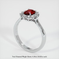 0.69 Ct. Ruby  Ring - 14K White Gold