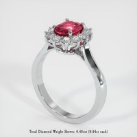 1.22 Ct. Ruby  Ring - 14K White Gold