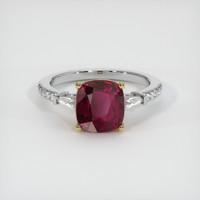 4.11 Ct. Ruby  Ring - 18K Yellow White