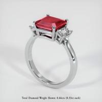 2.92 Ct. Ruby  Ring - 18K White Gold