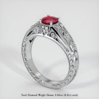 0.58 Ct. Ruby  Ring - 14K White Gold